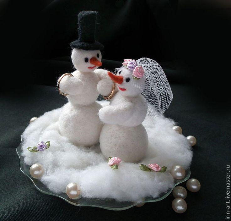 Купить тарелочка для колец Снежная свадьба - белый, зимняя свадьба, снежная баба, снеговики