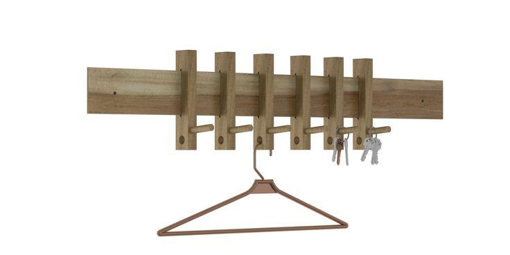 Perchero de pared con perchas deslizables en madera maciza