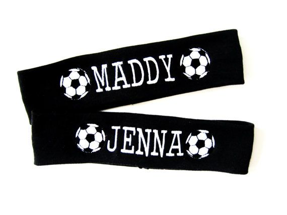 Set of 2 Soccer Headbands - Embroidered with Soccer Balls and Name - Pick All Colors
