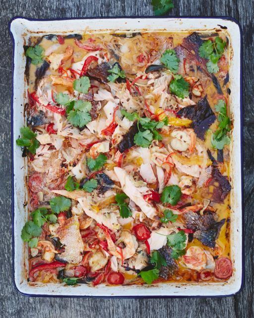 Traybaked Keralan fish curry | Jamie Oliver | Food | Jamie Oliver (UK) (salmon and king prawn)
