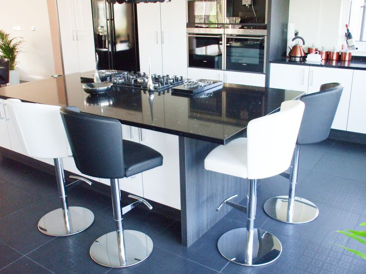 Nice Doris S Barstools In Black And White Leather In A Black And White Kitchen