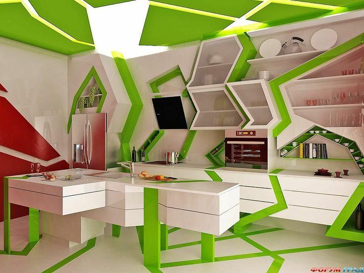 Необычная кухня зелеными вставками