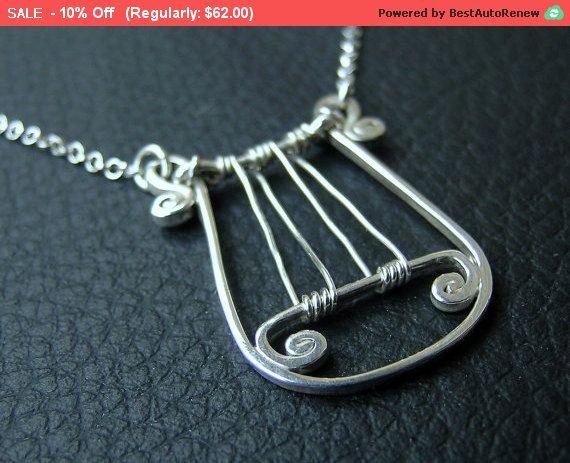 Verkauf ** Sterling Silber Lyra des Königs David Anhänger, Lyra von David Silber Halskette, Harfe Silberanhänger, handgefertigte Harfe Halskette, Musicia...