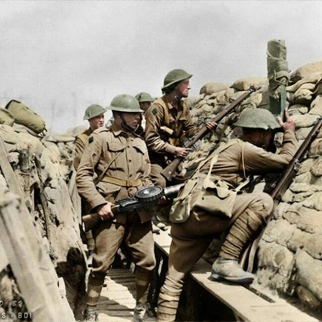 WW1. British troops somewhere in the year of 1916 on the Western Front.