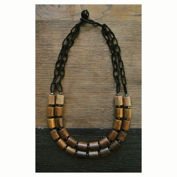 Wood and hematite necklace.