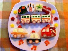 【誕生日・幼児食プレート】電車&働く車♪