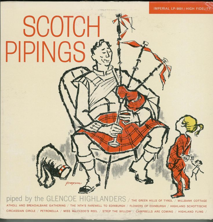 Record of bagpipe music, in outer sleeve, entitled 'Scotch Pipings piped by the Glencoe Highlanders', including marches, airs, dance tunes and medleys, produced by Imperial Records Inc., USA, 1960s.