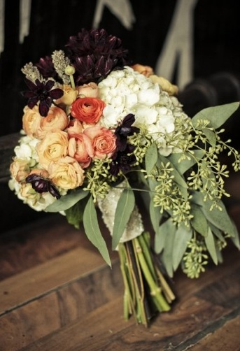 simple vintage bridal bouquet- love the chocolate cosmos & seeded eucalyptus greenery. The rose looking flowers are flowering kale-- a more affordable alternative to roses.    - Floral design by Wendy