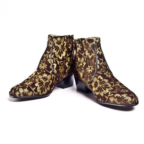 Florwered gold and brown Tapestry beatle boots   by goodbyefolk, $280.00