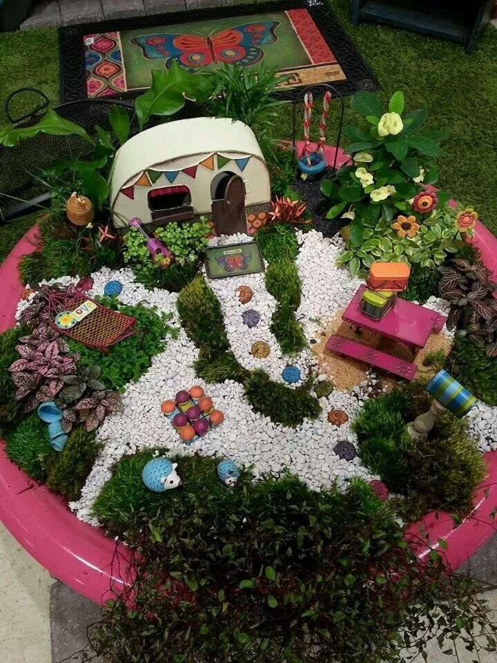 Fairy Garden Stepping Stones 2328 best fairy gardens images on pinterest fairies garden fairy colorful caravan miniature garden love the colored stepping stones highlighted by the white gravel the colorful plants and pot workwithnaturefo