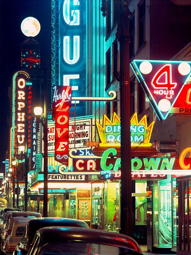 Neon lights of Vancouver, Granville Street entertainment strip in Canada