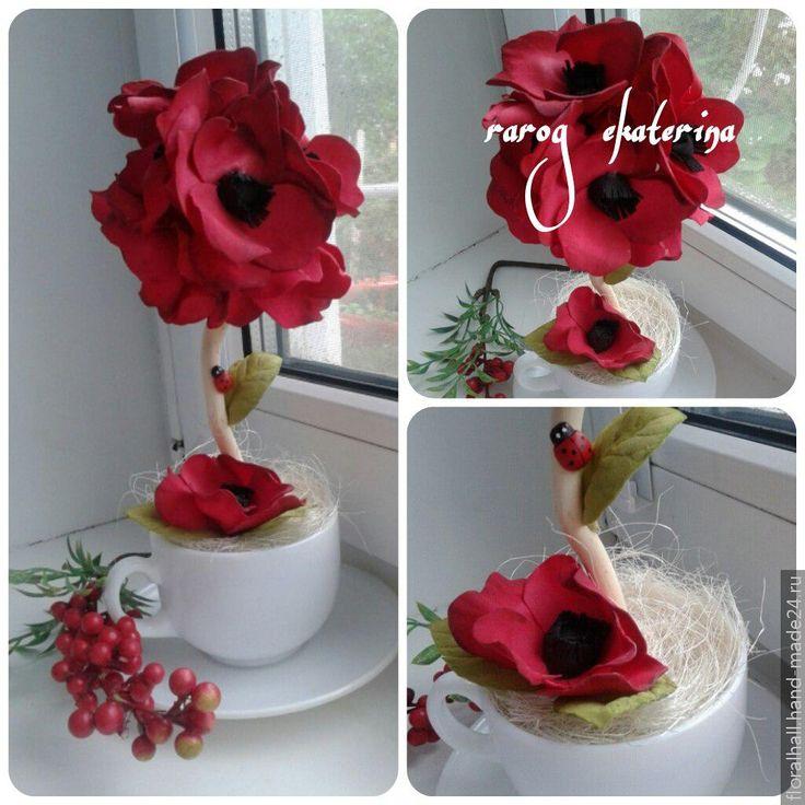 Топиарий в чашечке выполнен с использованием цветов из фоамирана / foamiran topiary tree, Hand-Made24.ru