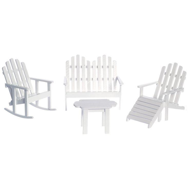 Have to have it. White Adirondack Furniture Dollhouse Miniature Set - $36.94 @hayneedle