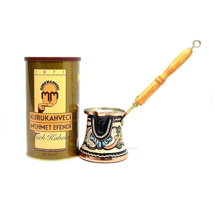 Turkish Coffee with Handmade Brass Turkish Coffee Pot by www.grandbazaarshopping.com