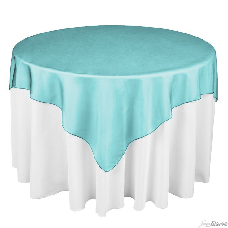Buy 72 Inch Square Turquoise Organza Table Overlay To