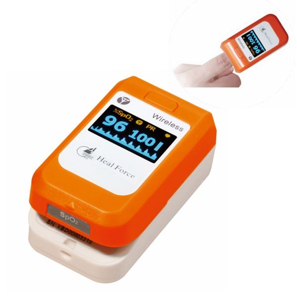 O LED conexión inalámbrica monitor de oxígeno en la sangre del oxímetro de pulso de dedo del bluetooth PC-60NW Heal Force