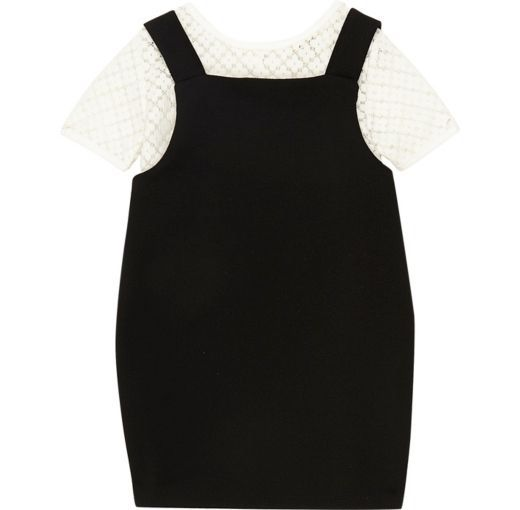 Checkout this Mini girls black 2 In 1 pinafore dress from River Island