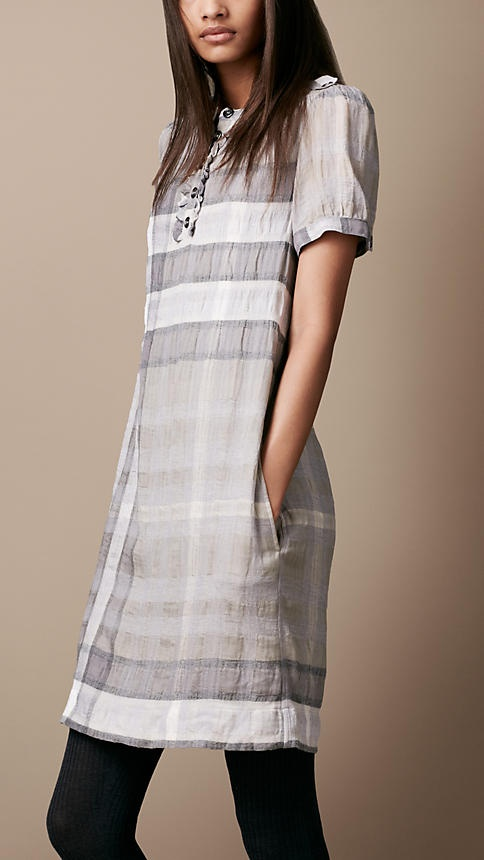 Burberry Brit Cotton Wool Check Dress