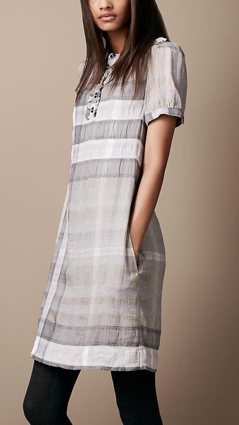 Burberry Brit Cotton Wool Check Dress