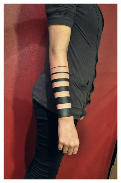 Different Size Black Lines Blackwork tattoo on Hand