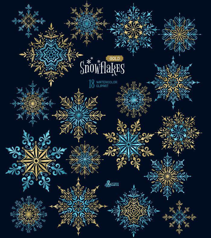 Schneeflocken Gold. 18 Aquarell separate Elemente, Clipart, Weihnachten, blau, golden, Urlaub, Karte, DIY, Einladung, Schnee, Winter, Glitzer
