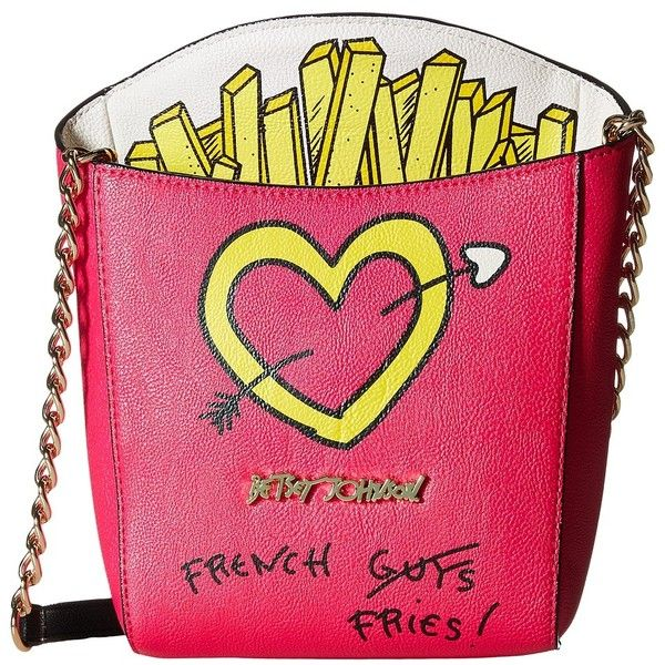 Betsey Johnson Kitsch French Fries Crossbody (Fuchsia) Cross Body... (£51) ❤ liked on Polyvore featuring bags, handbags, shoulder bags, handbags crossbody, betsey johnson crossbody, crossbody purse, crossbody shoulder bags and shoulder strap handbags