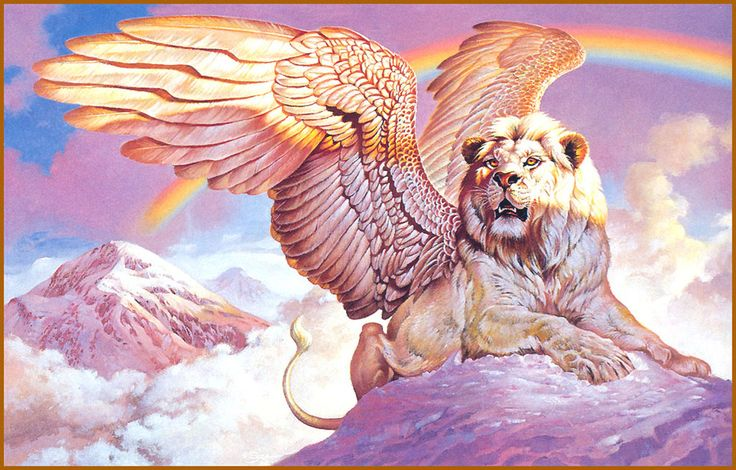 The creature itself is an amalgamation of two creatures, the body of a lion, and the wings and head of an eagle.