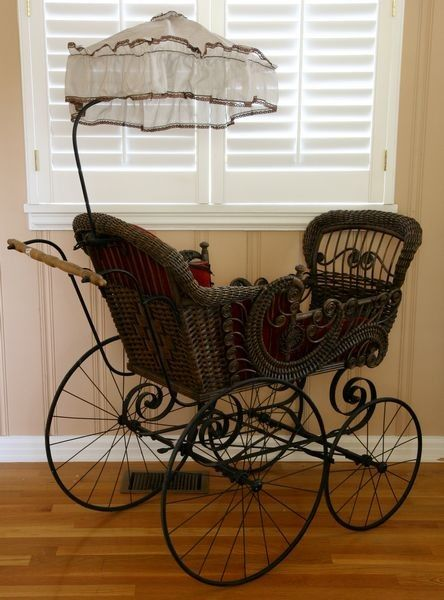 victorian baby carriage   2216: Victorian Wicker Baby Carriage : Lot 2216