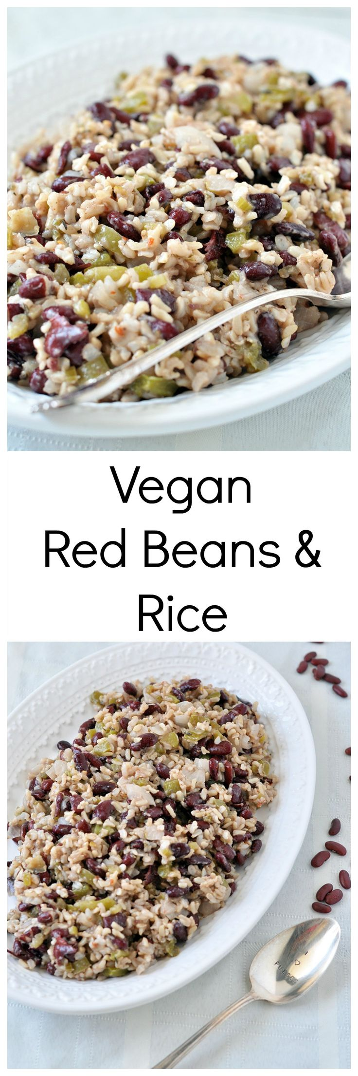 Vegan red beans and rice. Ingredients: brown rice, celery, green pepper, kidney beans, garlic, bay leaf, sage, oregano, cayenne, red pepper flake