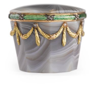 A Fabergé Diamond-Set Gold, Enamel, and Striated Agate Small Box, Workmaster Michael Perchin, St. Petersburg, 1899-1903