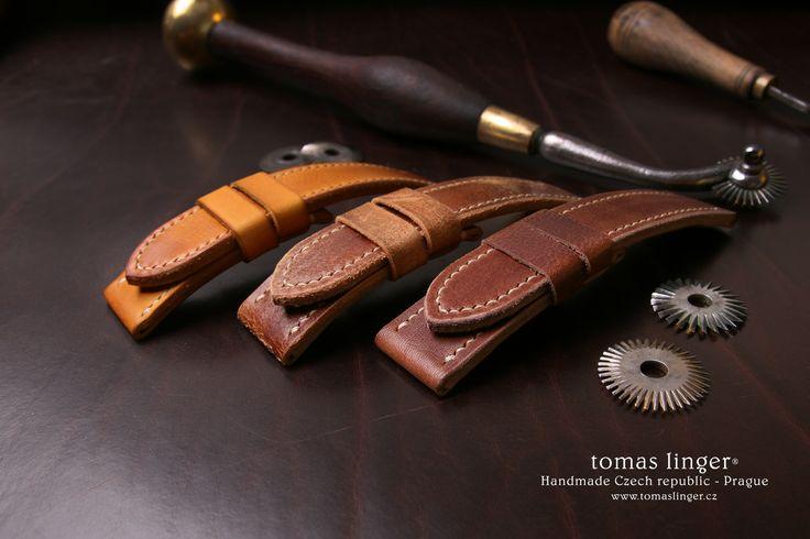 řemínek pro hodinky z kůže ručně vyrobený na zakázku