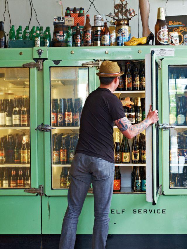 beer saraveza  what a way to merchandise wine and beer!