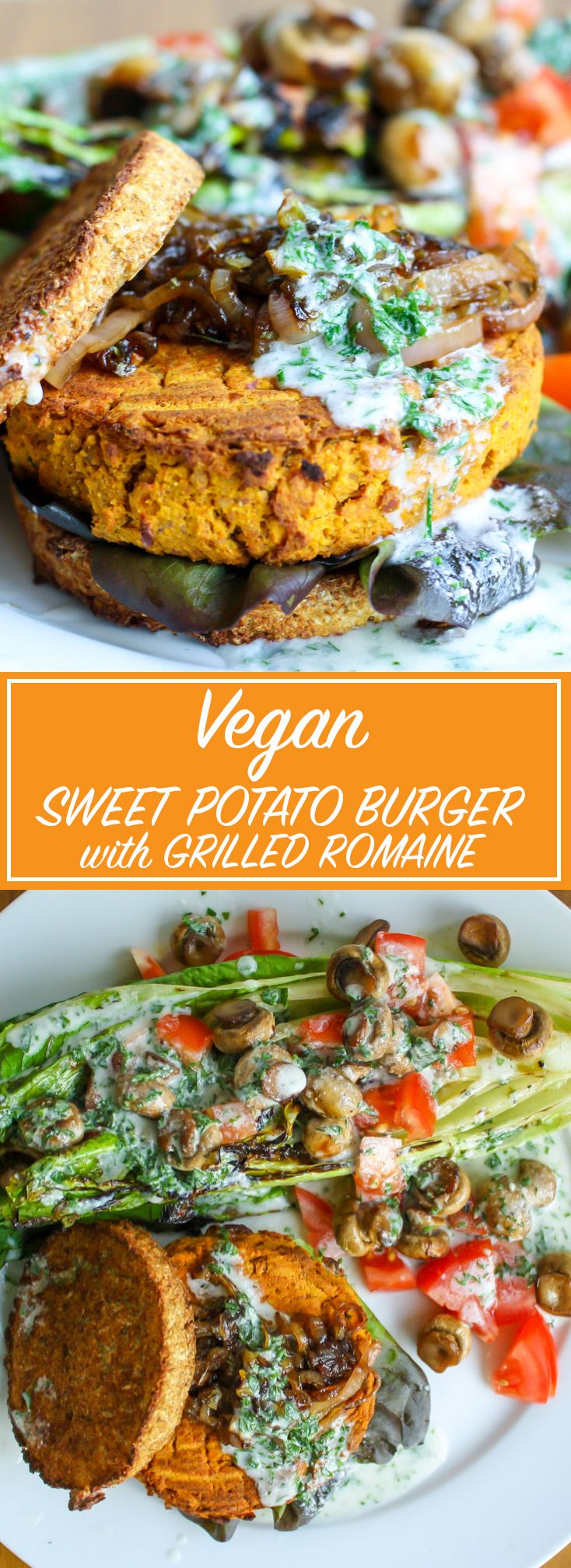 Vegan Sweet Potato Burger with Caramelized Shallots and Grilled Romaine Salad with Vegan Ranch Dressing. A perfect summer meal!