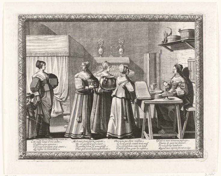 Abraham Bosse | Vrouwen geven geschenken aan de bruid, Abraham Bosse, Le Blond, c. 1630 - c. 1650 | In een vertrek zit de bruid, een bloemenkrans op het hoofd, achter een tafel waarop vaatwerk. Voor haar een rij vrouwen die haar geschenken brengen: de voorste vrouw heeft een lap stof in de handen. De vrouw achter haar draagt een grote ketel. De achterste vrouw, een kind aan de hand, draagt een stape linnengoed onder de arm. Linksachter een hemelbed.  Op de kast tegen de wand staan twee…