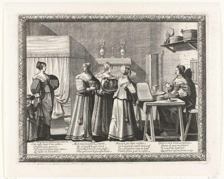 Abraham Bosse   Vrouwen geven geschenken aan de bruid, Abraham Bosse, Le Blond, c. 1630 - c. 1650   In een vertrek zit de bruid, een bloemenkrans op het hoofd, achter een tafel waarop vaatwerk. Voor haar een rij vrouwen die haar geschenken brengen: de voorste vrouw heeft een lap stof in de handen. De vrouw achter haar draagt een grote ketel. De achterste vrouw, een kind aan de hand, draagt een stape linnengoed onder de arm. Linksachter een hemelbed.  Op de kast tegen de wand staan twee…