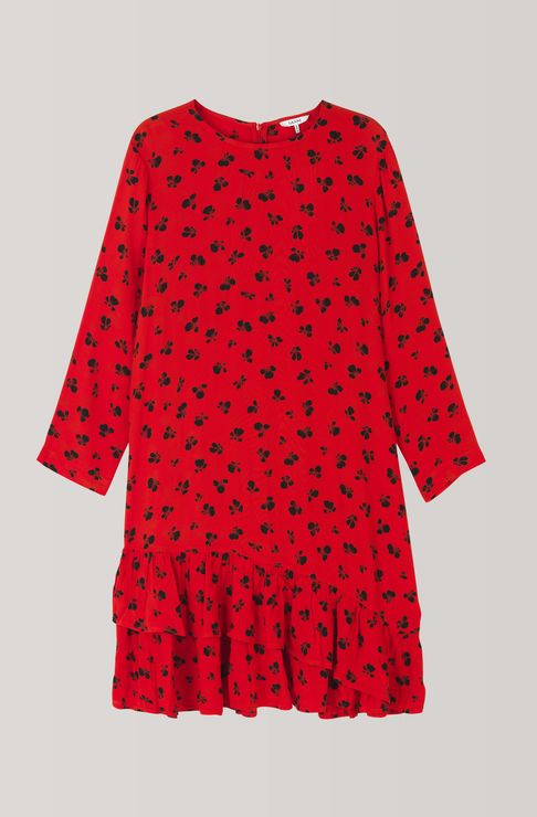 Emory Crepe Mini Dress, Fiery Red