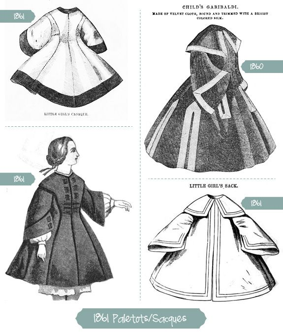 Girls' Paletot and Saques from early 1860s