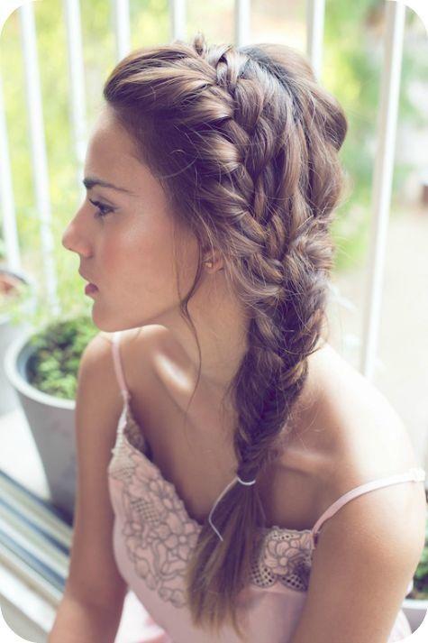 French braid, to the side #braid #hair