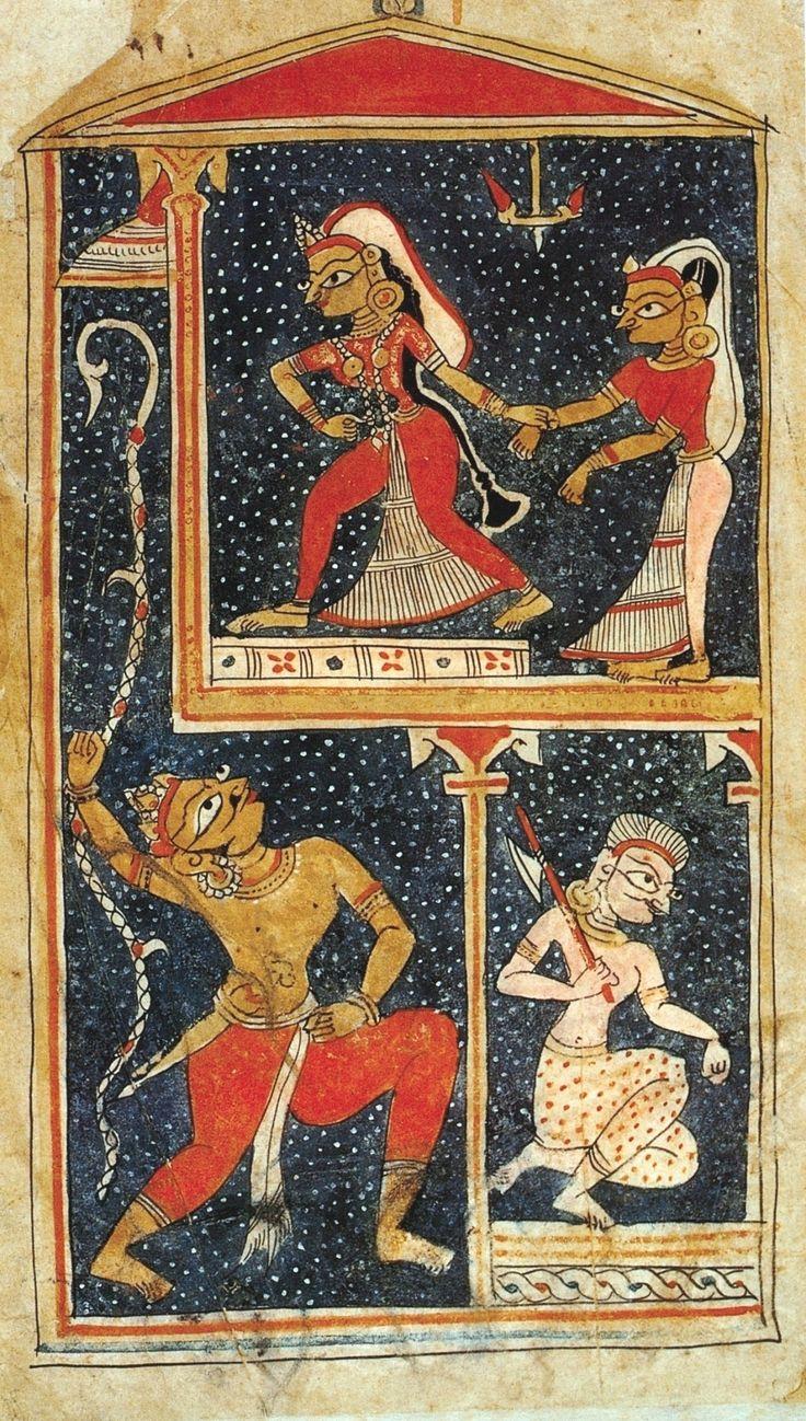 The Heroin Elopes. Laur Chanda (or Chandayana) of Mulla Da'ud. India before the Mughals, probably Delhi-Jaunpur (Uttar Pradesh), 1450-75. Bharat kala Bhavan, Banaras Hindu University, Varanasi.