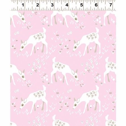 Y2066-42 Woodland Gathering Deer on Pink