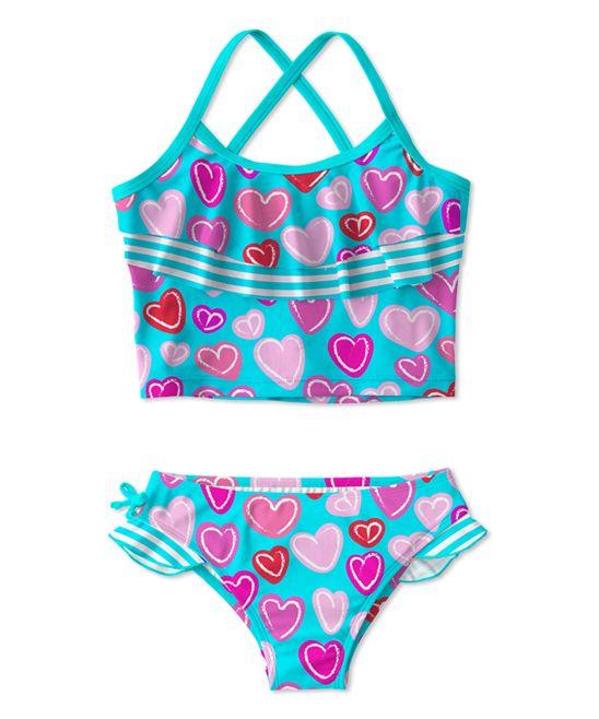 Turquoise & Pink Tankini - Toddler & Girls
