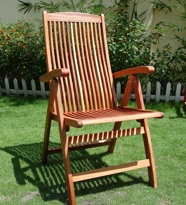 Forest Stewardship Council Certified Eucalyptus 5 Position Reclining Chair.  Plow U0026 Hearth Part 81