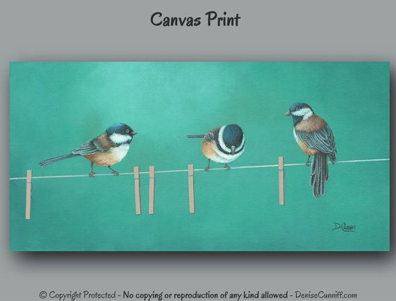 """Featuring fun little chickadees, this artwork was designed for laundry room decor or bathroom wall art. Colors work well with yellow, turquoise green, teal green, red, orange, brown, black, or gray. Theres also a teal blue version available (see photo #4 or link under more options).  ►► DETAILS ►►PLEASE READ ☼ Titled: """"Teal the Next Laundry Day"""" ☼ Medium: High quality Giclée canvas print of original painting by Denise Cunniff. All ArtFromDenise prints are made to order and NOT mass produced…"""