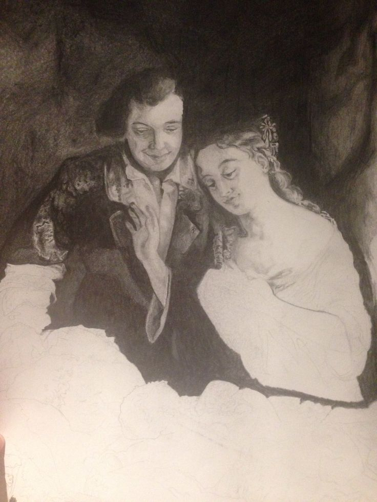 "Progress on my art project. Drawing by: Lillian Martin Spencer. Called: ""Domestic Happiness""."