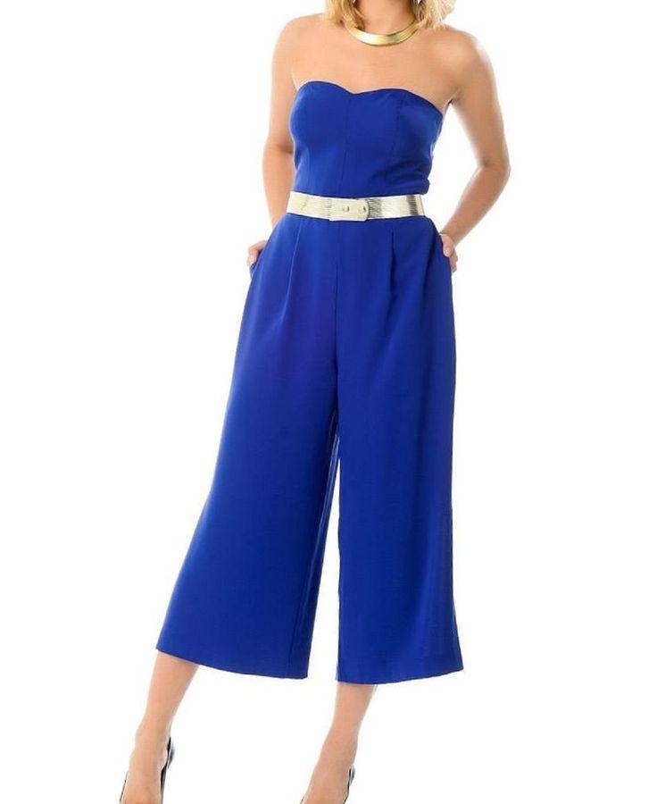 Damen Overall Königsblau Blau Jumpsuit Hosenanzug Abend Party Cocktailkleid gr,L