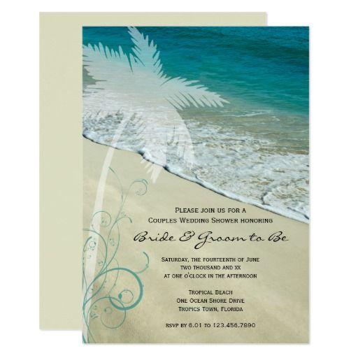 Tropical Beach Couples Wedding Shower Invitation