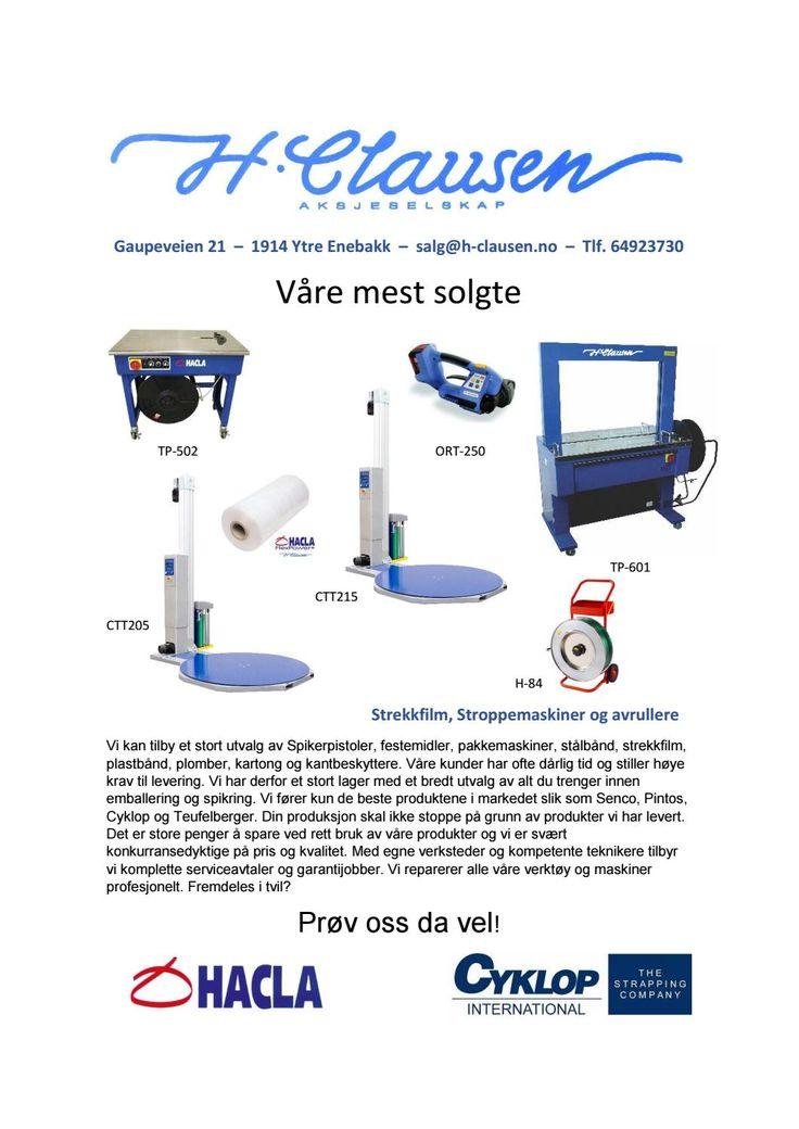 H. Clausen AS mest solgte maskiner