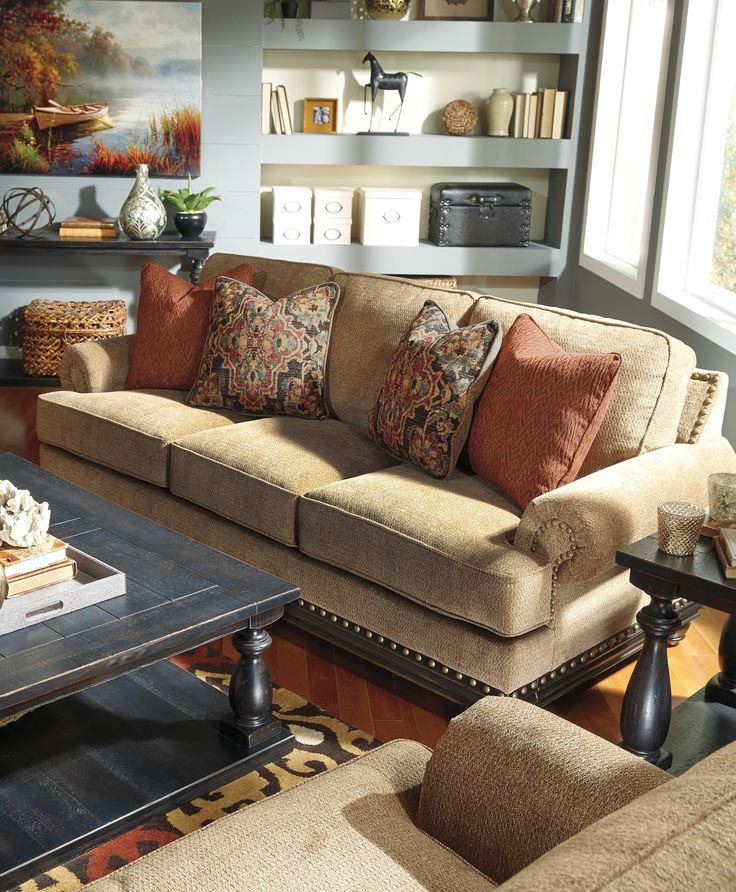 Transitional Sofa with Reversible Seat Cushions