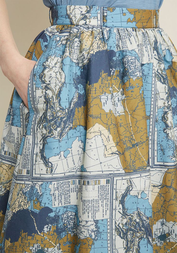 Charming Cotton Skirt with Pockets in Maps - Whoever believes staple pieces should only be solid needs to meet the sweet versatility of this blue skirt! A cotton offering from our ModCloth namesake label, this A-line makes it a pleasure to pair its belt loops, hidden pockets, and muted map print with your pieces both new and cherished.
