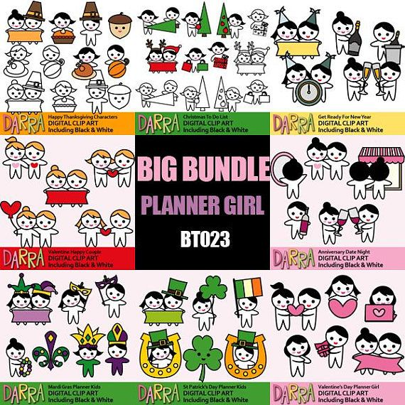 Planner clipart bundle sale / printable holidays clip art planner stickers characters / commercial use, instant download